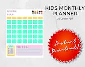 Child Monthly Calendar Printable | Kids School Calendar | Digital File