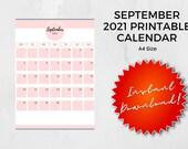 September 2021 Printable Calendar | A4 | Instant Download
