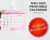 May 2021 Printable Calendar | US Letter | Landscape