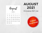 August 2021 Printable Calendar   A4   Instant Download