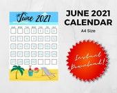 June 2021 Printable Calendar | A4 PDF PNG