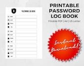 Printable Password Log Book, Password Tracker, Password Organizer PDF Fillable