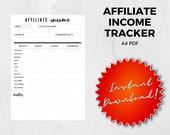 A4, Affiliate Income Tracker, Blogging Income, Printable PDF, Affiliate Worksheet