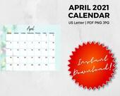 April 2021 Calendar | US Letter | pdf, png, jpg