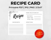 "Printable Recipe Card 3.5"" x 5""   PDF   JPG   PNG Instant Download"