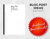 Blog Post Ideas Worksheet - Black - A4 PDF Digital Download