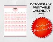 October 2021 Printable Calendar   A4   Instant Download