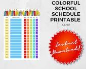 Colorful School Schedule Printable   A4   PDF