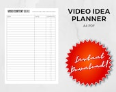 YouTube Video Idea Planner A4