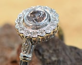 Pretty Round Nateral Australian Zircon and diamond 18ct White Gold solitaire Pave Bead Claw set Ring SI F
