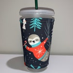 Winter Sloths Insulated Iced Coffee Cozy, Hot Coffee Cozy, Cozy, Cup Sleeve