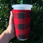 Checkers Flannel, Cotton Insulated Iced Coffee Cozy, Hot Coffee Cozy, Cup Sleeve