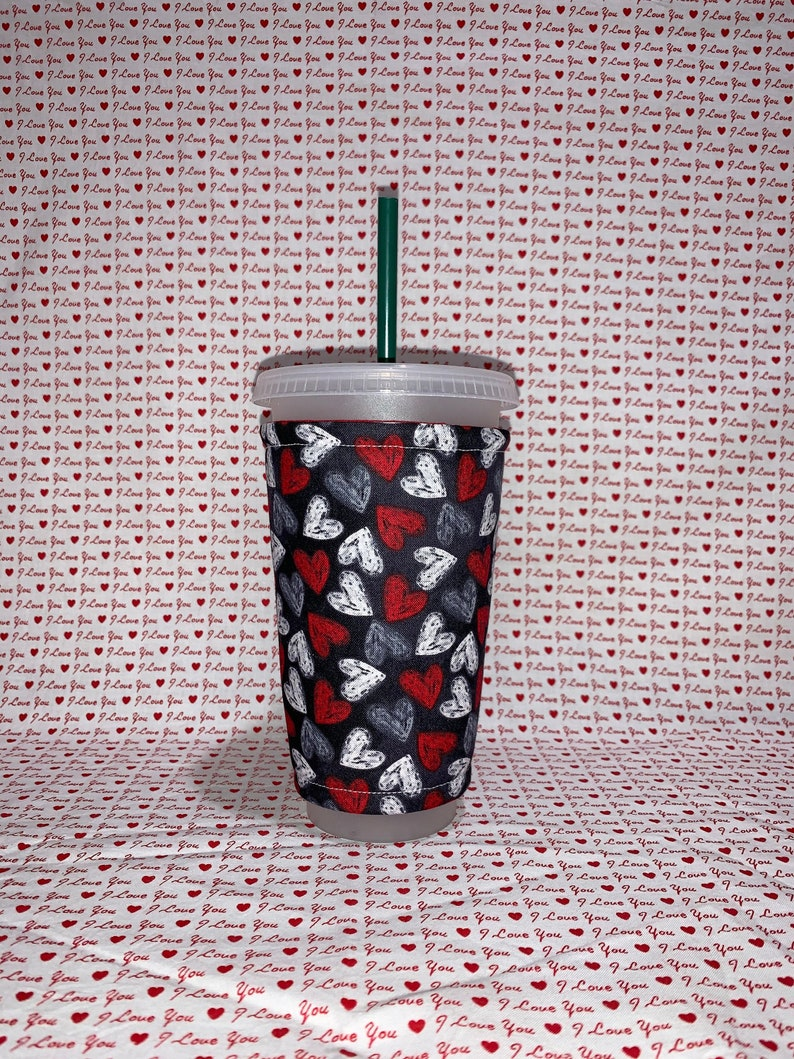 Hearts Insulated Iced Coffee Cozy Cup Sleeve image 0