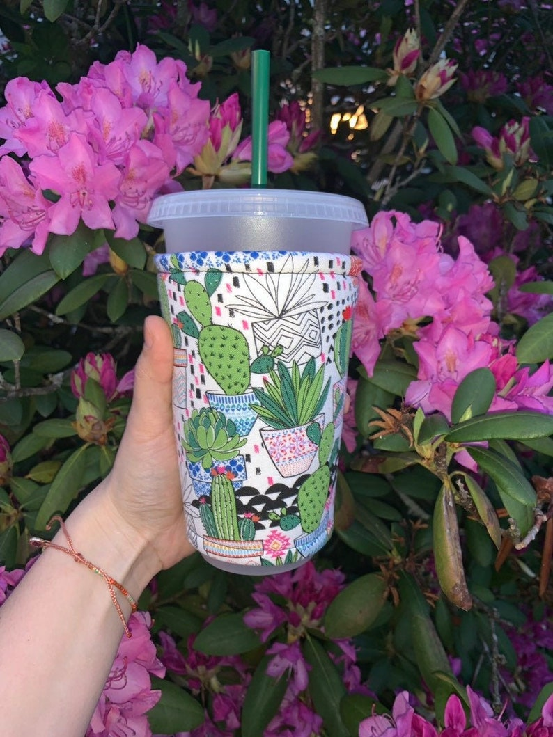 Cactus Bright Plant Insulated Iced Coffee Cozy Cup Sleeve image 0
