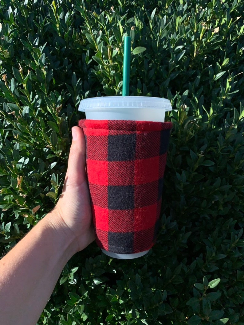 Checkers Flannel or Cotton Insulated Iced Coffee Cozy Hot image 0