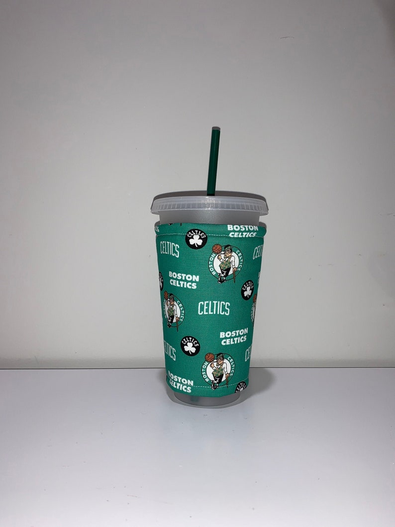 Celtics NBA Basketball Iced Coffee Cozy Coffee Sleeve image 0