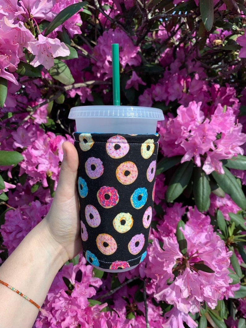 Donuts Sparkle Insulated Iced Coffee Cozy Cup Sleeve image 0