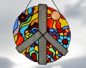 Peace stained glass window hanging Suncatcher window pendant Stained glass flower ornament Garden decor