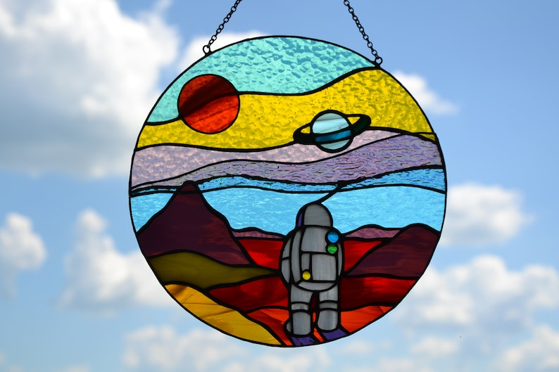 Space landscape stained glass suncatcher Window hanging sun image 1