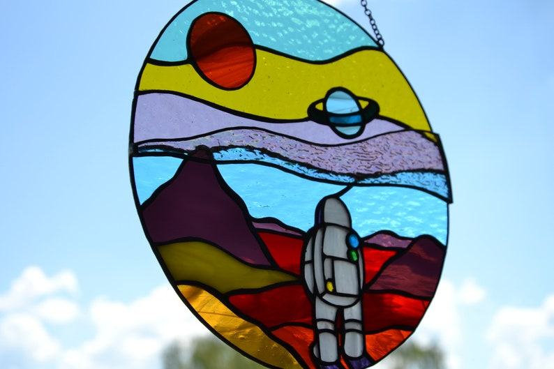 Space landscape stained glass suncatcher Window hanging sun image 2