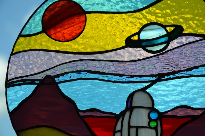 Space landscape stained glass suncatcher Window hanging sun image 4