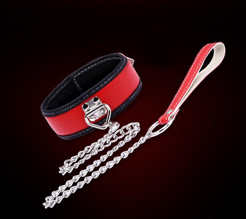 Leather Neck Collar with Leash BDSM Gear Bondage Gear Fetish Wear