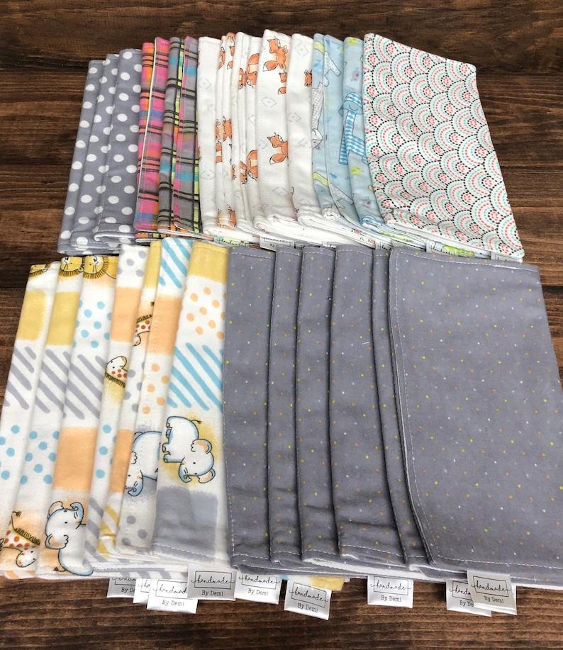 Set Of 3 Flannel Baby Burp Cloths