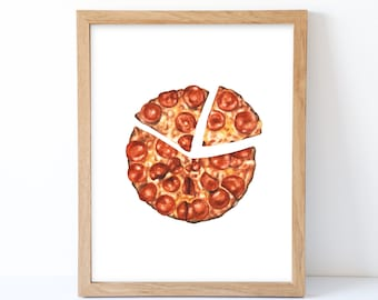 Watercolor Pizza Print, Pizza Wall Decor, Food Art, Food Illustration, Kitchen Wall Decor
