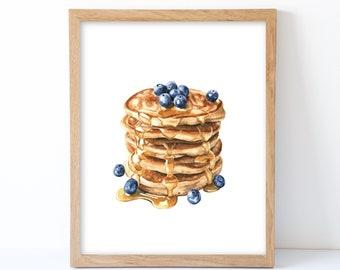 Watercolor Blueberry Pancakes Print, Pancakes Wall Decor, Food Art, Food Illustration, Kitchen Wall Decor