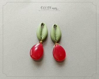 35mm Cowrie Red Jade Shell Pendant for earrings gemstone charm diy jewelry 2 PCS EM0229RJ