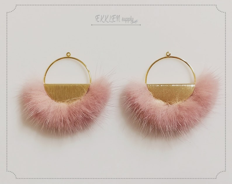 2 pcs Half moon mink fur pendant Indie Pink Natural Genuine Mink Pom pom Tassel supply for earrings necklace Charm ECT0039-IP