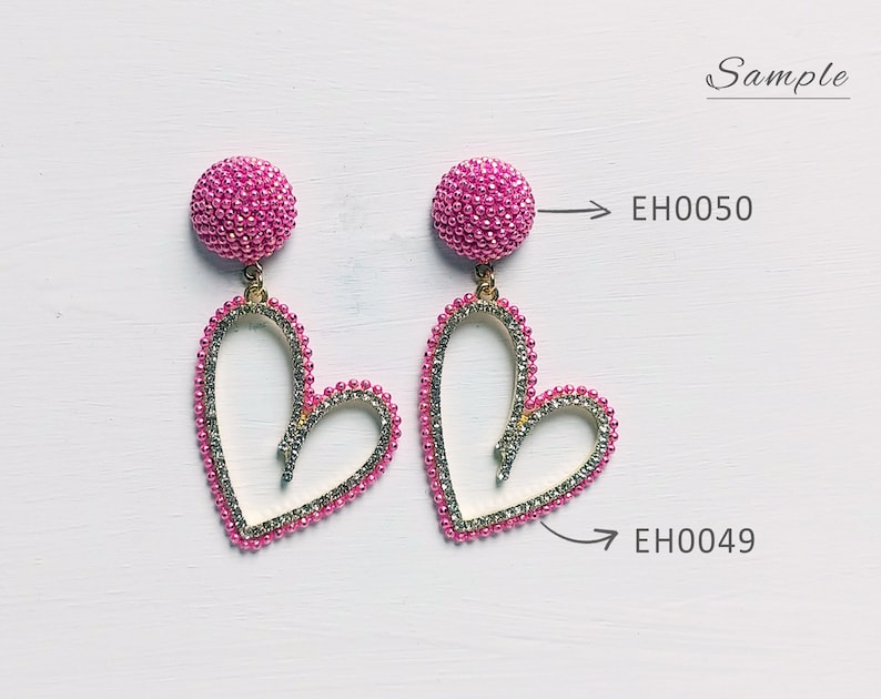 38 x 23 mm Peach EH0049-PE Heart Cubic Zirconia with chain Pendant Crystal Charms Earring necklace making supply 2 PCS
