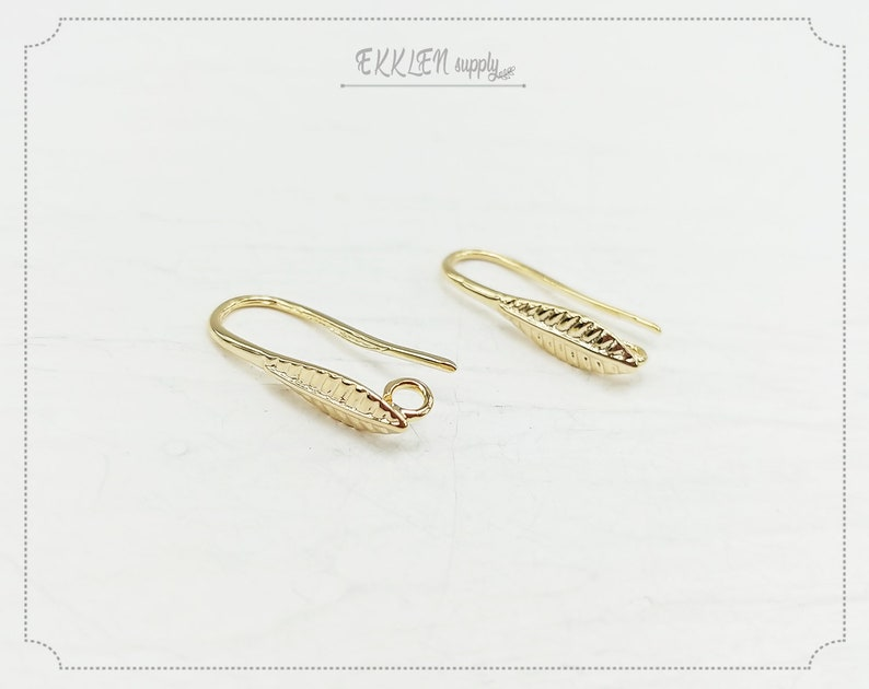 22 mm gold plated Brass EM0079-G making jewelry Earring Stud supply 2 PCS leaf hoop earring
