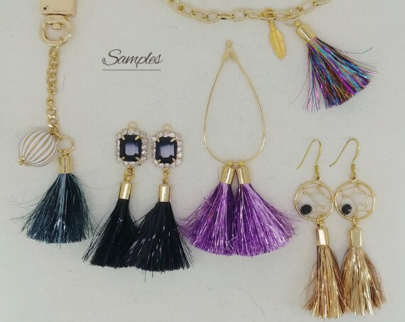 Necklace Brass End Cap 1.3 Silver Tinsel Tassel 2pcs ET0018 Suppy for Metallic Film Shiny Sparkly Earrings