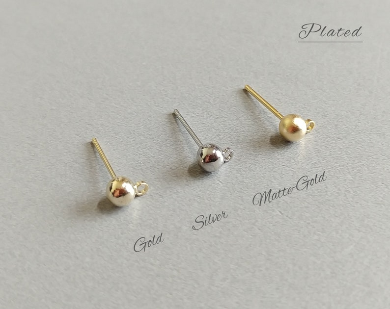 Ball Post earring Pendant Charm Connector 3 mm Matte Gold plated over brass Ball Stud Earrings supply for girls 4 PCS EBF0037-MG