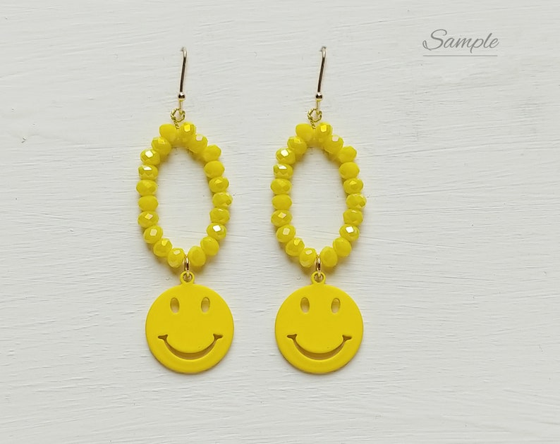 ER0060-YE 2 PCS Yellow 15mm smile matte rubber coated charm pendant supply for handmade pieces