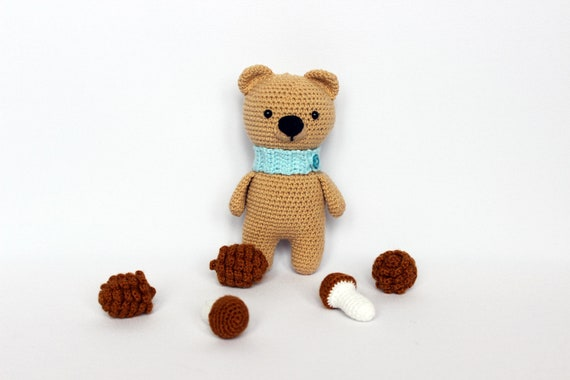 Amigurumi crochet bear toy, Stuffed animal toy crochet bear, Handmade bears interior toy