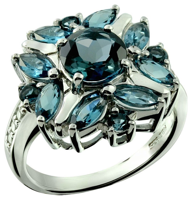 a948073e7eea8 RB Gems Sterling Silver 925 Ring Genuine London Blue Topaz 3 Cts Flower  Ring with Rhodium-Plated Finish