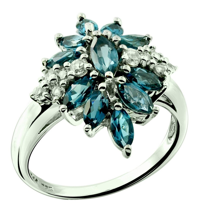 0ab286b9af103 RB Gems Sterling Silver 925 Ring Genuine London Blue Topaz Marquise 2.3 Cts  Rhodium-Plated Finish Floral-Cluster Style