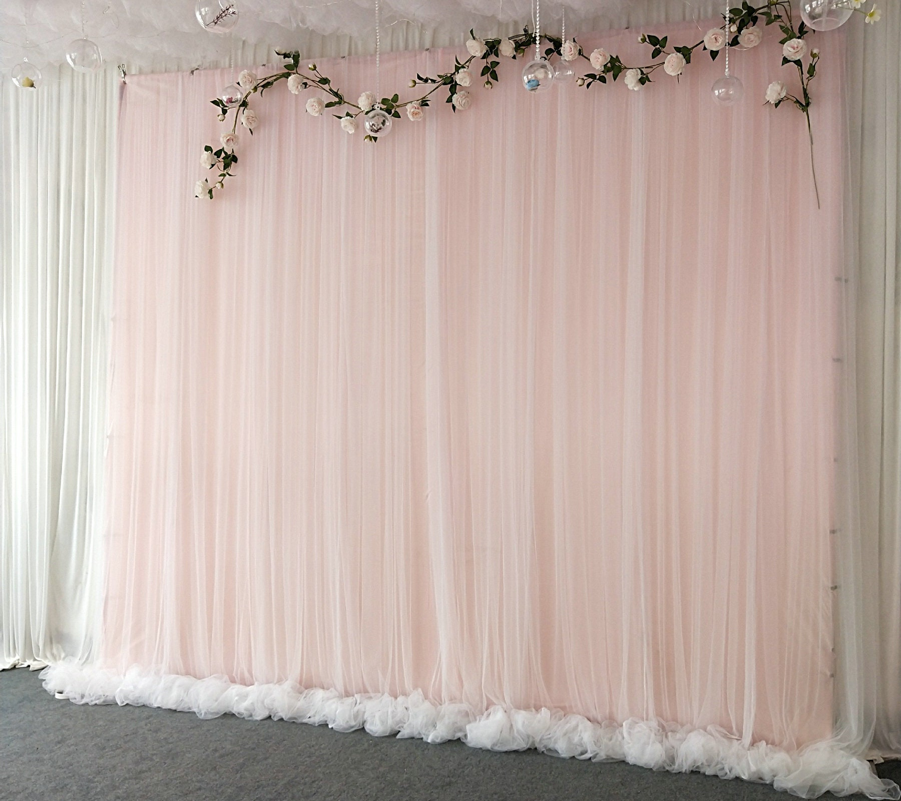 Light Pink Tulle Wedding Backdrop For Reception Romantic Full | Etsy