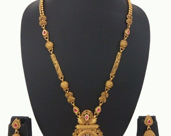 Indian necklace Mala Jewelry Ethnic Set Gold Plated Earrings Traditional Jewelry