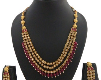 70b9b58a84 Indian Jewelry Long Necklace Set Bollywood Ethnic Gold Plated Traditional  Wedding Gift Set