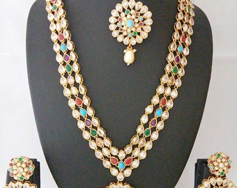 06c2d574e4 Indian Jewelry Long Necklace Set Bollywood Long Set Earring Tikka Ethnic  Gold Plated Traditional Long Jewelry Set