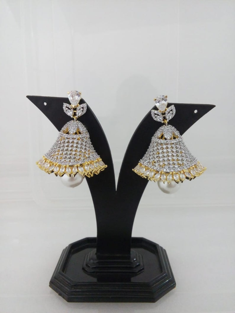 CZ American Dimonds High Quality Cubic Zirconia Indian Jewelry Jhumka Earrings Bollywood Cz Indian Earring