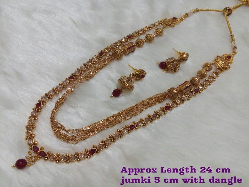 Indian Jewelry Long Necklace Set Bollywood Long Mala Set Earring Ethnic Gold Plated Traditional Long Jewelry Set