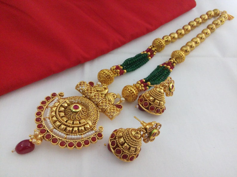 Indian Fashion Jewelry Mala Pendant Necklace Set bollywood ethnic Gold plated Set