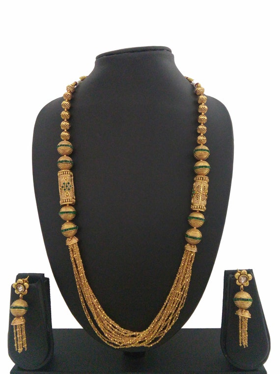 Indian bollywood Long Necklace Set Ethnic Gold Plated Traditional Long Set