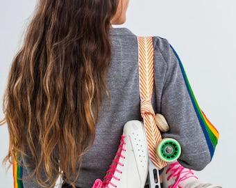 Sunburst Orange Chevron Cotton Roller Skate Leash, Adjustable Roller Skate Sling, roller skate strap, handmade, yellow, white