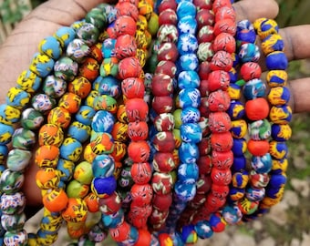 Assortment of 50 Piece Multicoloured Large African Beads for Hair or Jewellery