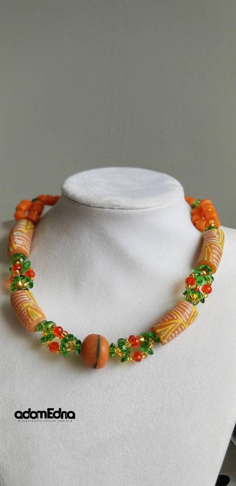 Orangegreen African rondelle beaded necklace